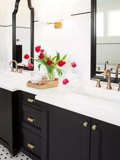 8 Black Bathroom Cabinet Ideas That You'll Want to Copy Now | Hunker Black White Bathrooms, White Bathroom Decor, Black And White Tiles, White Decor, Bathroom Black, Bathroom Interior, 1950s Bathroom, Bathroom Wall, Small Bathroom