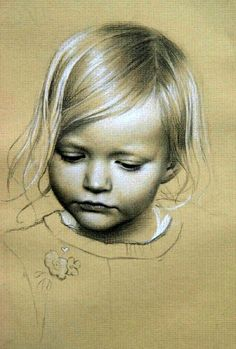 Little girl portrait with black and white pencil on tan background