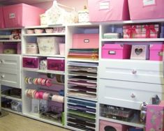 If I had a craft/art room, this is exactly what I would want it to look like...Pink and organized!
