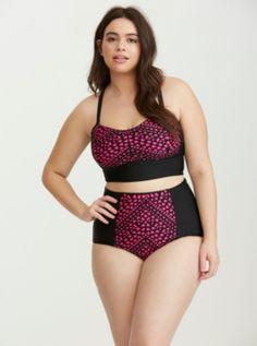 39bc0c3e8d Laser Cut Bandeau Swim Top in Pink Bandeau Swim Tops