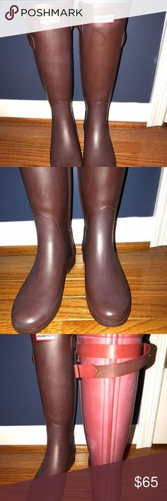 """Hunter Original Refined Back Strap Rain Boots These Hunter Boots have only been worn a few time. The exterior of the boots show a """"film"""" which is natural for Hunter boots and can be removed with Hunter Rubber Buffer. The boots are a dark purple (brown tinted) with a maroon colored back. These boots are a steal at this price! Add to you collection today! Hunter Shoes Winter & Rain Boots"""