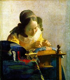 """Johannes Vermeer, """"The Lacemaker"""", 1669-70... saw a more contemporary version of this scene while visiting Brugges in 1995 <3"""