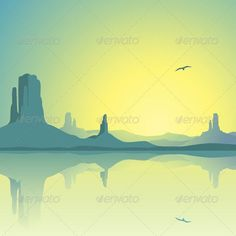 A Desert Landscape with Mountains and Reflection in Water. Fully editable vector EPS 10 , gradients and transparencies used.