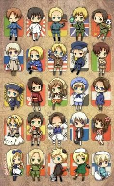 Hetalia characters and their flags