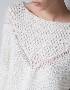 Contemporary Knitwear - soft white sweater with open knit detail // Zara Summer Knitting, Lace Knitting, Knitting Stitches, Knitting Sweaters, Knitwear Fashion, Knit Fashion, Sweater Fashion, Girl Fashion, Mode Crochet