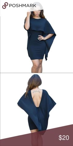 Black cape capelet dress minidress Brand new, never worn as it's too big for me. Zip closure in back. Dresses