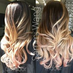 Beige Blond with pastel pink tip Balayage Ombre / Base