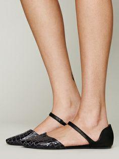 ジェフリー・キャンベル(Jeffrey Campbell)US限定デザイン メリージェーンフラットシューズ Best -black leather / grey croc 1