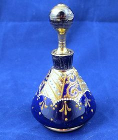 Beautiful Antique Cobalt Blue Gold Venetian Bohemian Glass Perfume Bottle Signed