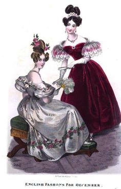 Evening gowns, Royal Ladies' Magazine, December 1832. L: Embroidered white satin gown with feather fan. R: Red velvet gown with lace sleeves, worn with tiara.
