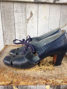 1930s navy blue shoes 30s lace up heels size 7 Vintage film noir reptile shoes by melsvanity on Etsy