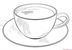 simple coloring pages of tea cups | Tea Cup And Saucer Drawing Sketch Coloring Page | Crafty ...