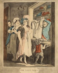 The last shift. 1808, New York Public Library, MEZYRK With the state of her own shift the lady is in dire need