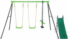 Shop online for Hurley 2 Metal Swing Set with Slide. Play now and Pay over time with Afterpay, Zip, Laybuy, LatitudePay or Humm. Baby Swing Set, Kids Swing, Backyard Slide, Web Swing, Metal Swing Sets, Toys Australia, Plastic Components, Double Swing, Wooden Swings
