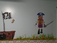 Mural I did for a residential home  - avec le pirate!!