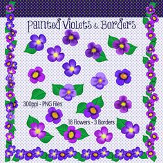 Purple Flowers Clip Art Clip Art Flowers by CheriesArtsnCrafts