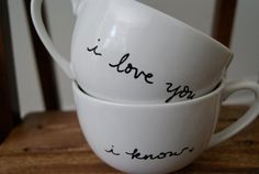 i love you. i know. white cappuccino mugs/tea cups. star wars. on Etsy, $30.00
