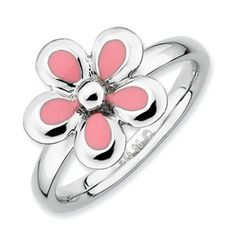 Sterling Silver Stackable Expressions Polished Pink Enameled Flower Ring - SalmaJewelry.com $46.08