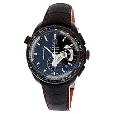 53ba6e80dbe TAG Heuer Men s CAV5185.FC6237 Grand Carrera Leather Strap Chronograph Black  Dial Watch Mens Watches