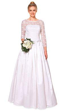 Brautkleid mit Spitzenausschnitt und -ärmeln zum Selbernähen - Schnittmuster via Makerist.de