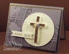Make a beautiful handmade Easter card that was inspired by John 3:16 with the Stampin' Up! Blessed by God Stamp Set & World Traveler Emboss Folder!