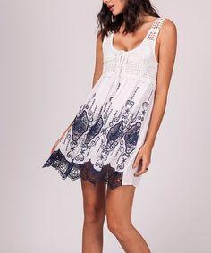 Look what I found on #zulily! White & Blue Ornate Lace-Hem Sleeveless Dress #zulilyfinds