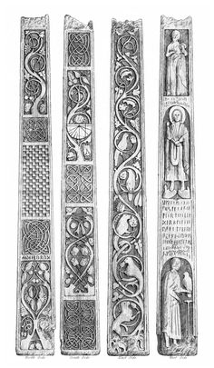 Bewcastle Cross, in Ruthwell, Cumbria, Anglo-Saxon, dating from the century. The Illustration shows all four sides of the remaining base of the cross. Viking Designs, Celtic Designs, Anglo Saxon Tattoo, St Cuthbert, Christian Artwork, Nordic Tattoo, Medieval Art, Medieval Pattern, Early Christian