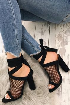 Black mesh ankle strapped heels