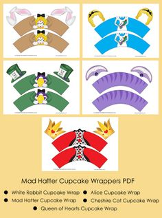 Mad Hatter Tea Party, Alice in Wonderland Cupcake Wrappers