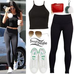 Kendall Jenner was spotted walking with a friend in Melrose wearing a Brandy Melville Chanelle Tank ($18.00 – wrong color), Lululemon Wunder Under Pants ($92.00), her Louis Vuitton Red Key Pouch ($390.00), a Fendi Pompon Bag Charm (£250.00 – wrong color), Ray-Ban Aviator Classic Sunglasses ($150.00) and a pair of Adidas Stan Smith Shoes ($75.00)