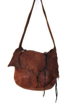 Vintage ERDA Deerskin Purse - Brown Leather Hobo Shoulder Handbag - Metal and Ceramic Beads Hippie Southwestern NAtive American Style