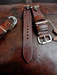 Dangerous9straps - 1965 Swiss Ammo strap with Skulls and Vintage Style Roller buckle for U-Boat watch.