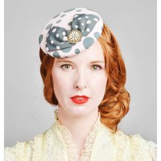 pink and grey polka dot fascinator #vintage #hat #headband