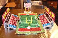 McMahon Stadium in Calgary, Alberta, home of the Calgary Stampeders! Football players are licorice babies with gumball helmets and some royal icing. Everything you see is edible!