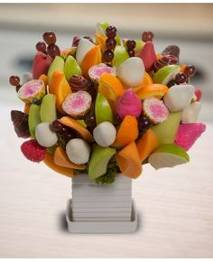 Happy Birthday Girlie Blossom scent free fruit bouquet are great for all occasions and make great gifts ideas or decorations from a proud Canadian Company. Great alternative to traditional flowers or fruit baskets Edible Fruit Arrangements, Flower Arrangements, Fruit Creations, Free Fruit, Meatless Recipes, Chocolate Bouquet, Chocolate Lovers, Corporate Gifts, Baskets