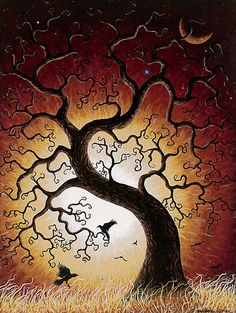 art crow moon tree of life Art Et Illustration, Tree Art, Tree Of Life Artwork, Samhain, Oeuvre D'art, Painting Inspiration, Painting & Drawing, Amazing Art, Fantasy Art