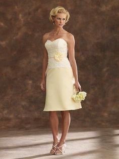 Sheath Sweetheart Dropped Waist Tea Length Satin Yellow Mother     of The Bride Dress