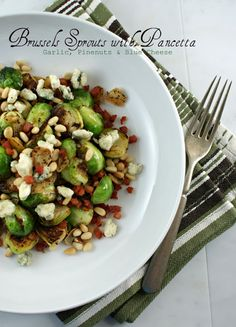 Brussels Sprouts with Pancetta, Garlic, Pinenuts and Blue Cheese