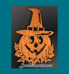 Scroll Saw Patterns :: Holidays :: Halloween & Day of the Dead :: Pumpkin with witch's hat Saw Halloween, Halloween Wood Crafts, Halloween Patterns, Holidays Halloween, Scroll Saw Patterns Free, Scroll Pattern, Pattern Art, Free Pattern, Wood Burning Patterns