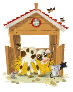 Farm fun on Behance Farm Animals For Kids, Kids Zoo, Barnyard Animals, Baby Drawing, Drawing For Kids, Art For Kids, Cute Animal Illustration, Children's Book Illustration, Animal Doodles