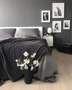 The gorgeous bedroom of Menu JWDA Concrete lamp available at www. The gorgeous bed Black And Grey Bedroom, Grey Room, Gray Bedroom, Bedroom Inspo, Home Decor Bedroom, Master Bedroom, Bedroom Lamps, Black And Gray, Bedroom Ideas
