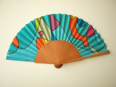 Handpainted Silk hand fan-Wedding hand fan- Silk hand fan-Bridesmaids- Spanish hand fan- Ooak hand fan by gilbea on Etsy