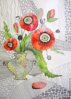 Картины цветов ручной работы. Ярмарка Мастеров - ручная работа. Купить Декоративные маки. Handmade. Ярко-красный, цветы, ваза