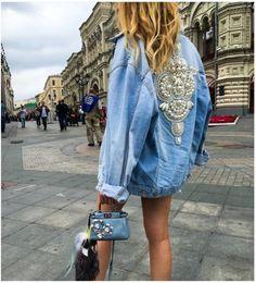 Bordado pérolas Denim jaqueta