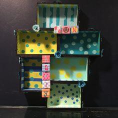 polka dot shadow box, wood cube wall display, miniature display case, nursery shadow box, child's room decor, nursery decor, polka dot decor by Bedotted on Etsy