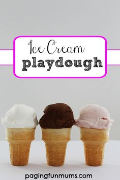 Ice Cream Playdough! Made with only two ingredients, this divine playdough will be a smash hit in your house! It even smells gorgeous!  There's no harm if the kids have a mouthful either! Winning!