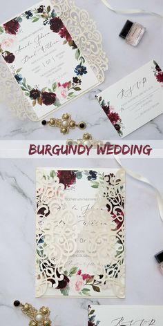 burgundy watercolor burgundy ivory gold floral laser cut wedding invitations SWWS128 #wedding #weddinginvitations#stylishwedd #stylishweddinvitations #vellumweddinginvitations