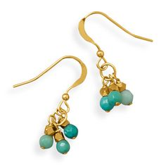 Handmade 14/20 Gold Filled Triple Drop Earrings with Moss Opal