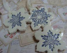Four Simply Elegant Ceramic Snowflake by GardenSpellGhostTale