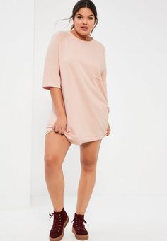 67ad5a47bb6 Nail the laid back look with this nude oversized sweater dress. With pocket  front feature and 3 4 length sleeves - this dress has all the boxes ticked  for a ...